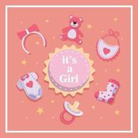 Born Day For Girl Cute Concept Design vector