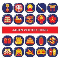 Japan vector icons in badge design style.