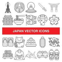 Japan vector icons in outline design style.