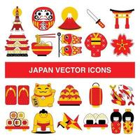 Japan vector icons in filled outline design style.