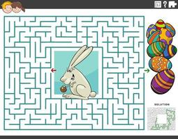 maze educational game with cartoon Easter bunny and eggs