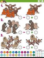 subtraction educational task with cartoon apes and monkeys