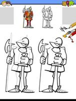 drawing and coloring task with knight character