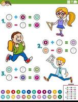 math addition and subtraction educational task with kids vector