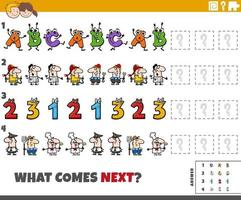 educational pattern game for children with cartoon characters vector
