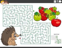 maze educational game with cartoon hedgehog and apples vector