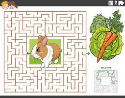 maze educational game with rabbit with carrot and lettuce vector