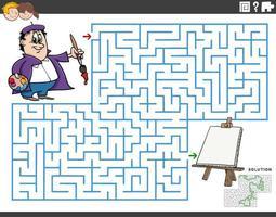 juego educativo de laberinto con pintor de dibujos animados y caballete vector