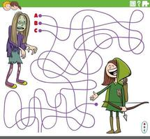 educational maze game with cartoon girls in costumes at party