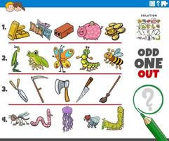 odd one out picture game with cartoon objects and animals