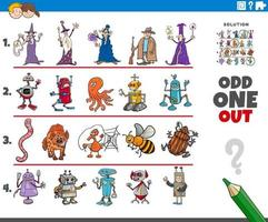 odd one out picture game with cartoon characters