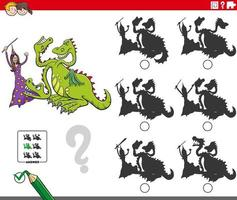 educational shadows game with cartoon witch and dragon vector