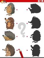 shadow game with cartoon hedgehogs characters vector