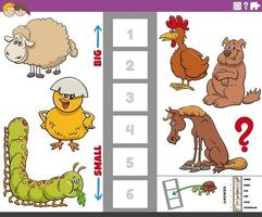 educational game with big and small cartoon animals vector