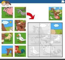 jigsaw puzzle game with funny farm animal characters vector
