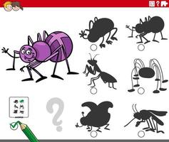 shadows game with cartoon spider insect character vector