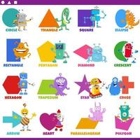 basic geometric shapes with fantasy characters set vector