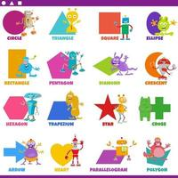basic geometric shapes with comic fantasy characters set vector
