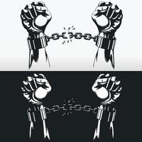Libertad mano rompiendo cadenas de esposas, dibujo vectorial de plantilla de silueta vector