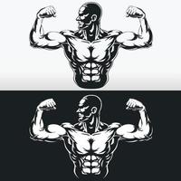 Silhouette Gym Bodybuilder Flexing Arm Muscles, Stencil Vector Drawing