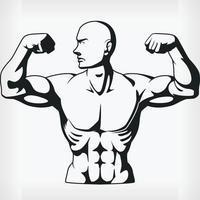 Silhouette Bodybuilder Flexing Arm Muscles, Stencil Vector Drawing