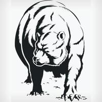 silueta, oso, ambulante, vista frontal, plantilla, aislado, vector, dibujo vector
