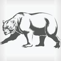 Silhouette Grizzly Brown Bear Walking, Stencil Isolated Vector Drawing