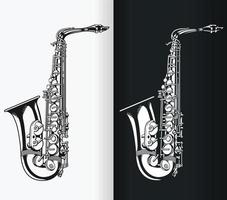 Silhouette of Jazz Tenor Saxophone, Music Stencil Isolated Vector Drawing
