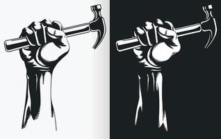 Silhouette of Hand Holding Hammer, Stencil Clipart Vector Drawing