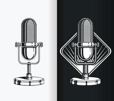 Silhouette of Vintage Radio and Podcast Old Microphone, Stencil Vector Drawing