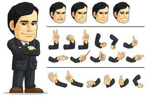 Mascota del director ejecutivo de la empresa de negocios, dibujo vectorial de dibujos animados vector