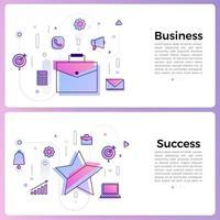 línea de icono de estilo de negocio de banner
