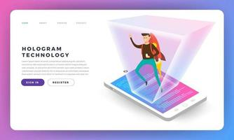 Flat design concepr isometric hologram. Vector illustrations.