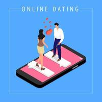 Isometric dating online concept vector