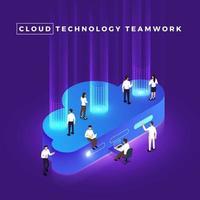 Isometric Cloud Computing vector