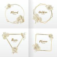 Frame Wedding Floral Ornament, Hand drawn Template Rose Flower Vector