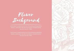 Background of Floral Hand Drawn Rose, Sketch Template Vector Layout
