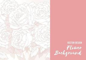 Background of Flower Hand drawn Rose, Floral Outline Template Vector Layout