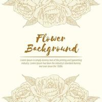Background of Rose Hand drawn Floral Sketch Template Vector Layout