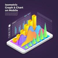 Isometric design concept mobile application analytics tools. Vector illustrations.