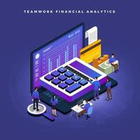 Isometric financial teamwork vector