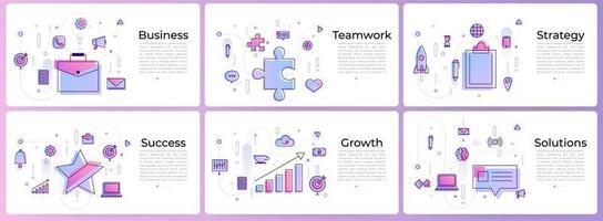 conjunto de banners marketing digital vector