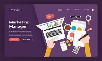 Gerente de marketing de concepto de diseño plano de sitio web de diseño de maqueta. ilustración vectorial. vector
