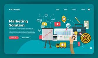 diseño de maqueta concepto de diseño plano de sitio web marketing digital. solución de marketing. ilustración vectorial. vector