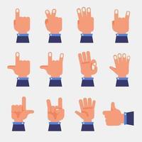 vector set hand finger gesture