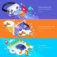concepto de diseño plano realidad virtual, realidad aumentada y coches inteligentes. ilustrar el vector. vector
