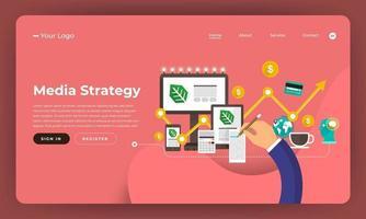 diseño de maqueta concepto de diseño plano de sitio web marketing digital. Estrategia de Medios. ilustración vectorial.