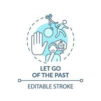 Let go of the past turquoise concept icon vector