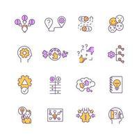 Problem solving, decision making RGB color icons set vector