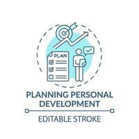 Planificación del desarrollo personal icono concepto turquesa vector